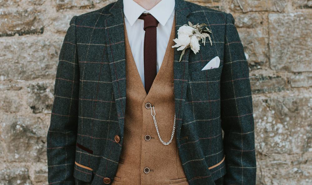 Groom Suit Check Waistcoat Tan Camel Tie Millhouse Wedding Louise Scott Photography