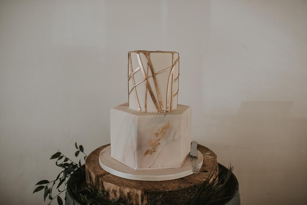 Cake Hexagonal Round Marble Gold Millhouse Wedding Louise Scott Photography