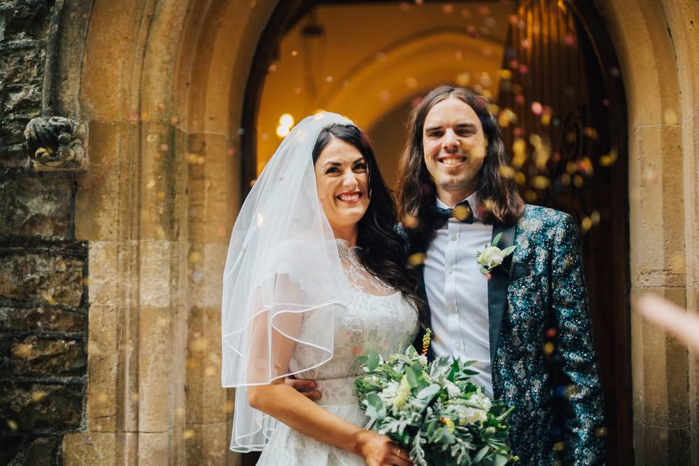 Groom Suit Jacquard Blazer Bow Tie Monmouth Priory Wedding Loveseen Photography