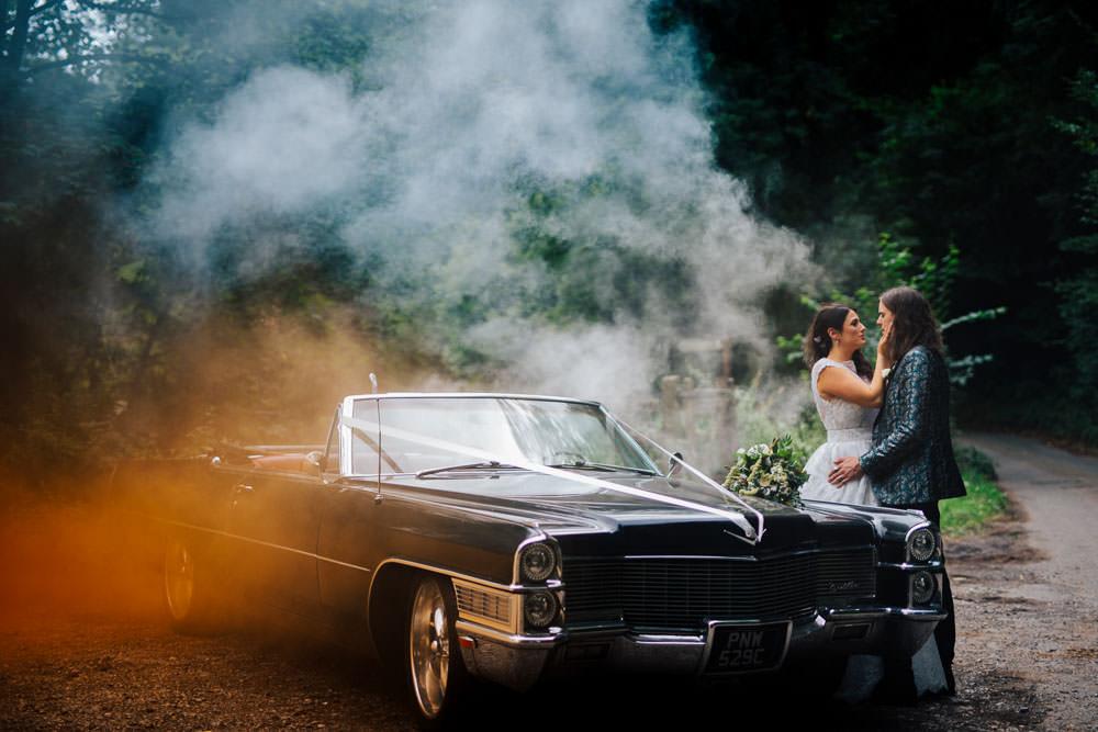 Smoke Bomb Photo Portraits Photographs Cadillac Car Transport Monmouth Priory Wedding Loveseen Photography