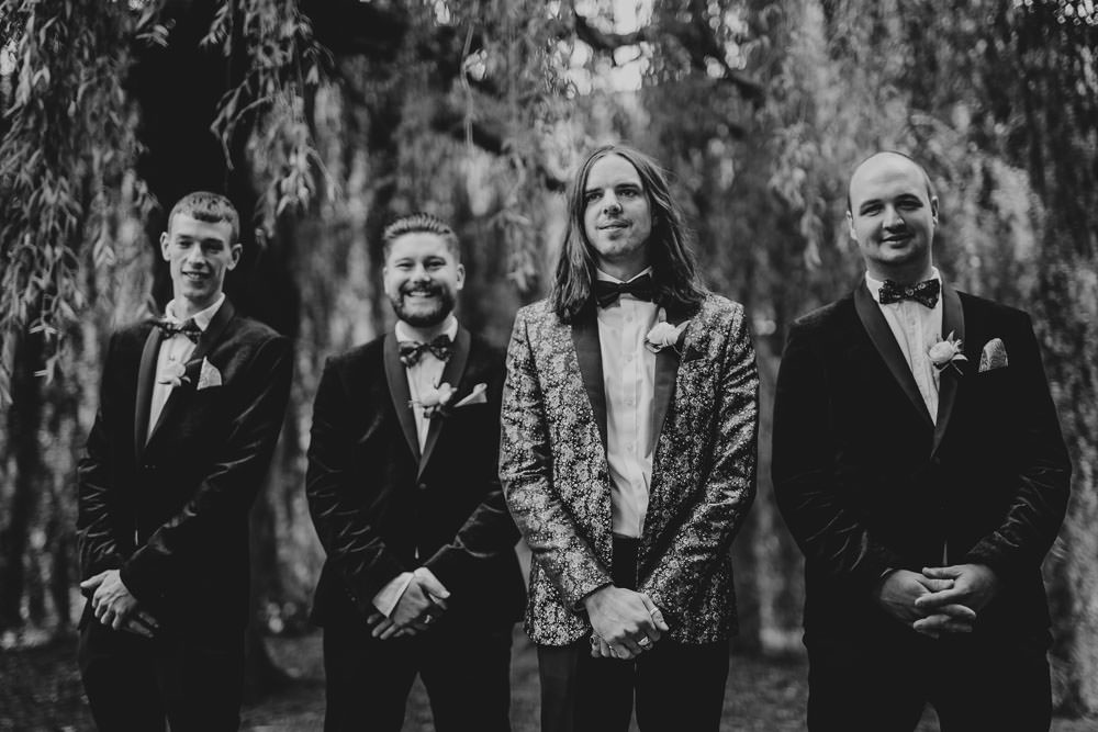 Groom Suit Jacquard Blazer Bow Tie Groomsmen Monmouth Priory Wedding Loveseen Photography