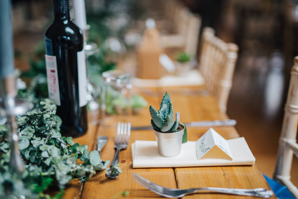 Potted Succulent Favours Place Setting Cacttus Crystals Decor Monmouth Priory Wedding Loveseen Photography