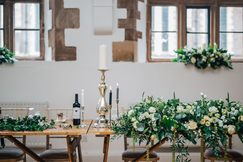 Long Trestle Table Decor Greenery Foliage Monmouth Priory Wedding Loveseen Photography