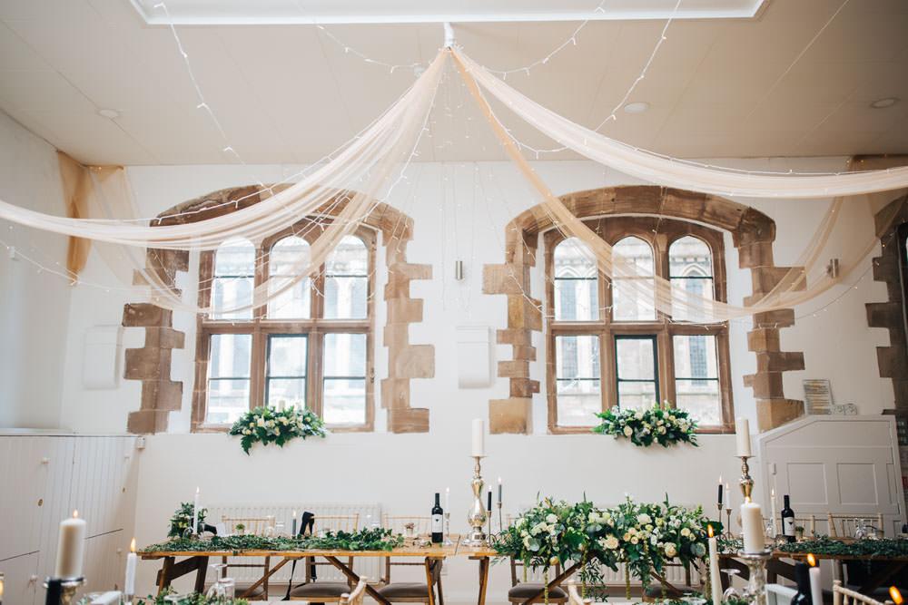 Long Trestle Table Decor Greenery Foliage Drapes Decor Monmouth Priory Wedding Loveseen Photography