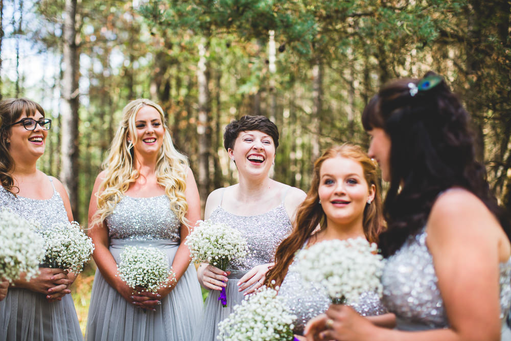 Sparkly Sequin Top Maxi Dress Bridesmaids Gypsophila Bouquet Moors Valley Country Park Wedding Livvy Hukins Photography
