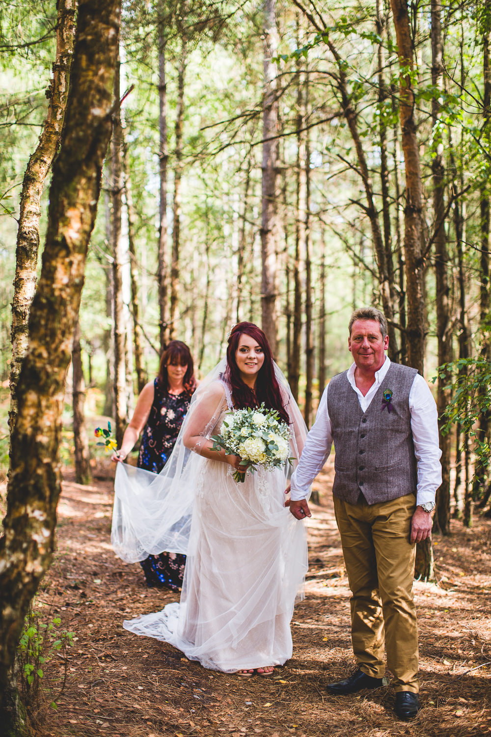 Bride Bridal Wed2B Dress Gown Sleeveless Overlay Veil Tweed Waistcoat Chinos Moors Valley Country Park Wedding Livvy Hukins Photography