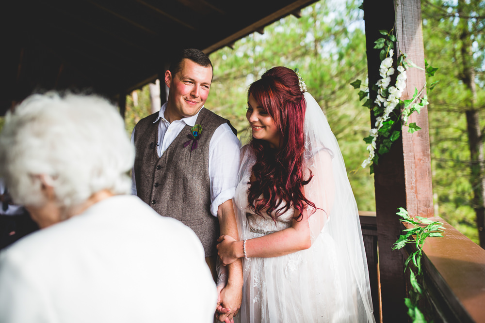 Bride Bridal Wed2Be Dress Gown Sleeveless Overlay Veil Tweed Waistcoat Chinos Groom Moors Valley Country Park Wedding Livvy Hukins Photography