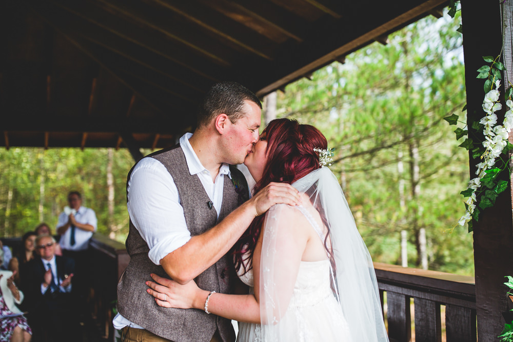 Bride Bridal Wed2B Dress Gown Sleeveless Overlay Veil Tweed Waistcoat Chinos Groom Moors Valley Country Park Wedding Livvy Hukins Photography