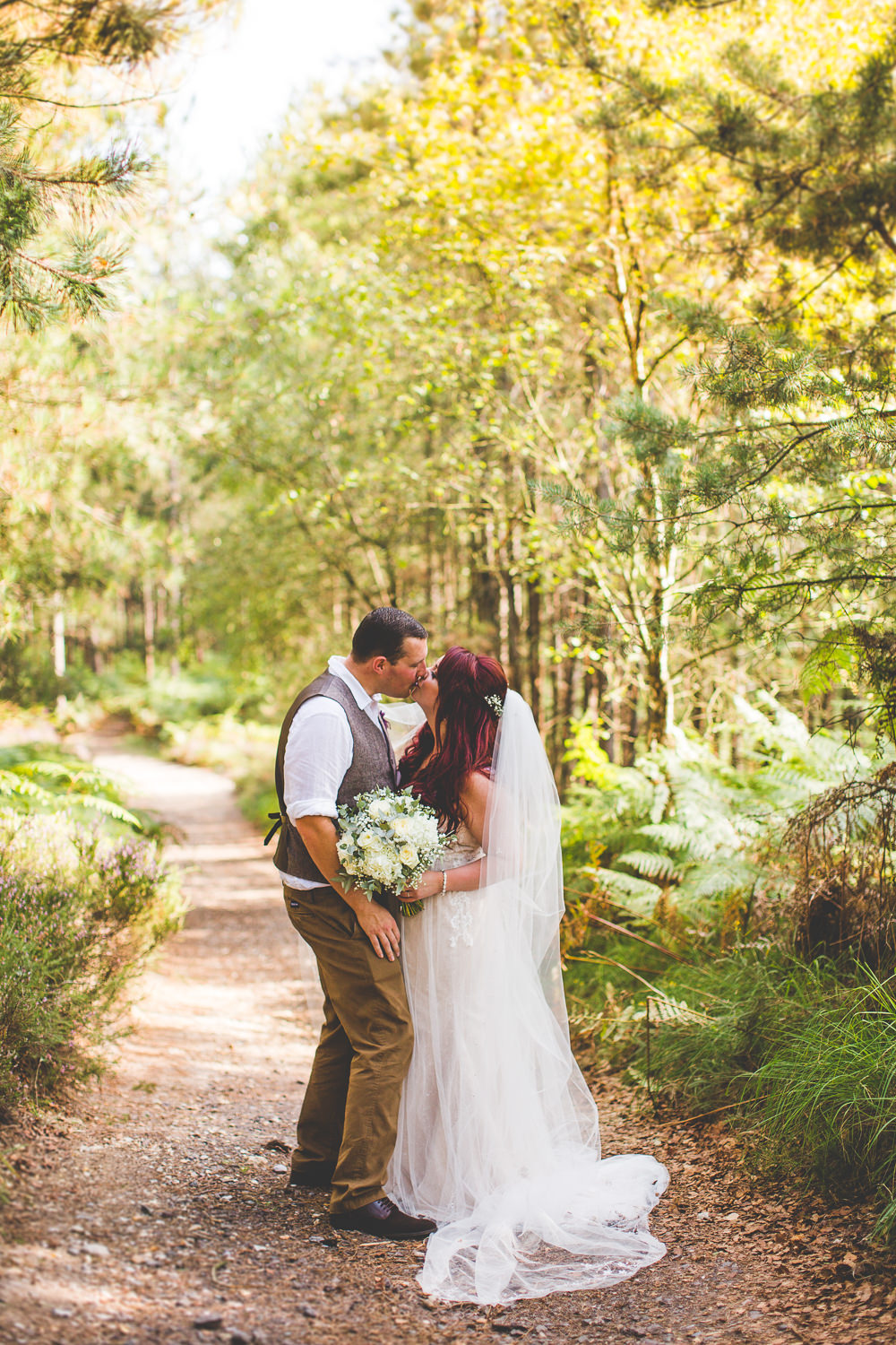 Bride Bridal Wed2B Dress Gown Sleeveless Overlay Veil Tweed Waistcoat Chinos Groom White Flower Bouquet Moors Valley Country Park Wedding Livvy Hukins Photography