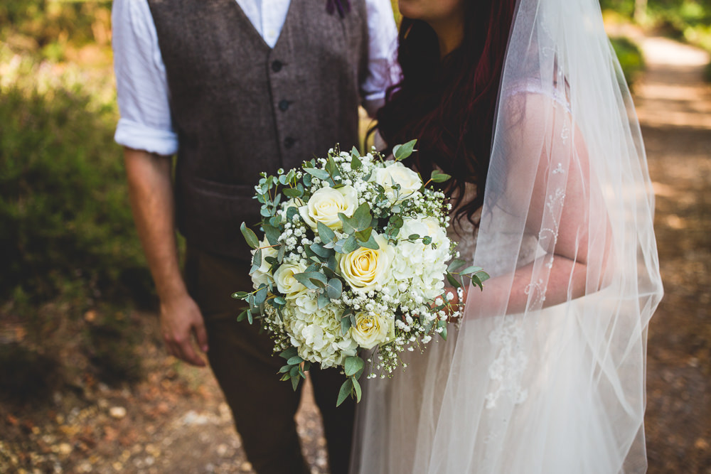 White Flower Bouquet Gypsophila Eucalyptus Moors Valley Country Park Wedding Livvy Hukins Photography