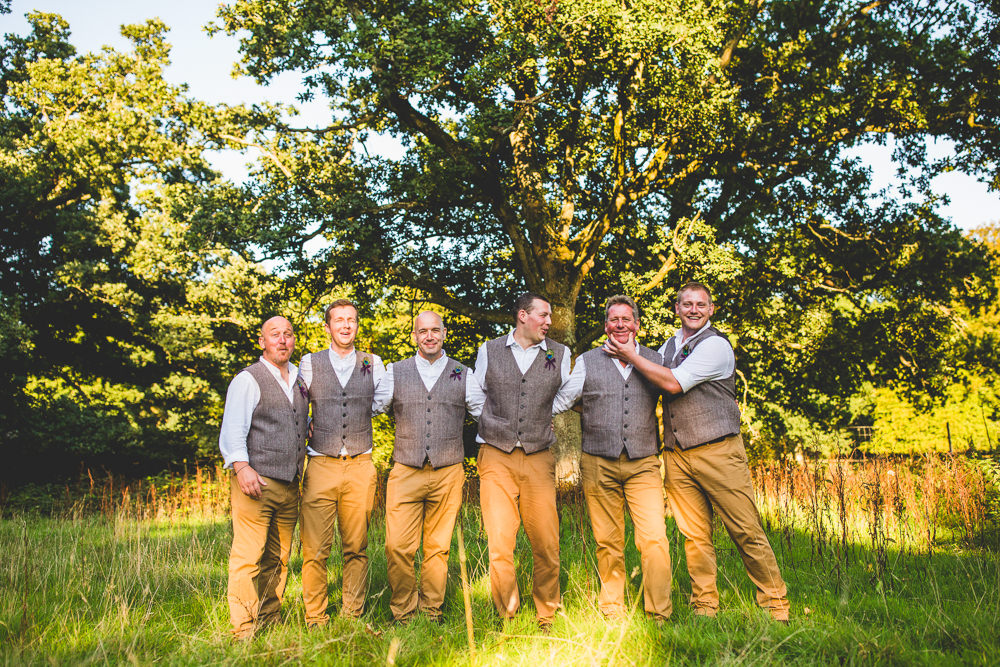 Tweed Waistcoat Chinos Groom Groomsmen Moors Valley Country Park Wedding Livvy Hukins Photography
