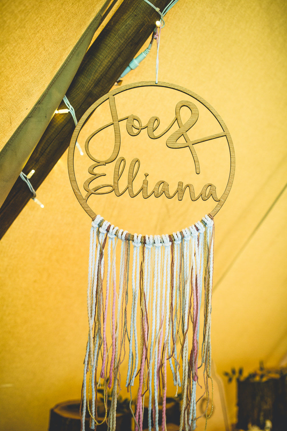 Laser Cut Wooden Personalised Dreamcatcher Tipi Moors Valley Country Park Wedding Livvy Hukins Photography