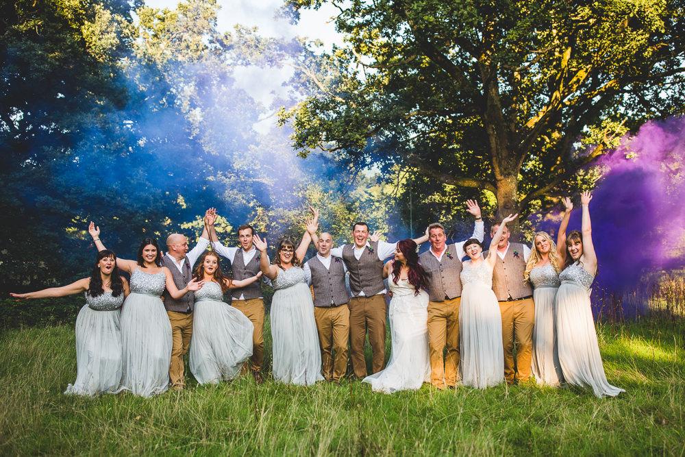 Bride Groom Bridesmaids Groomsmen Tweed Waistcoat Chinos Smoke Bombs Moors Valley Country Park Wedding Livvy Hukins Photography