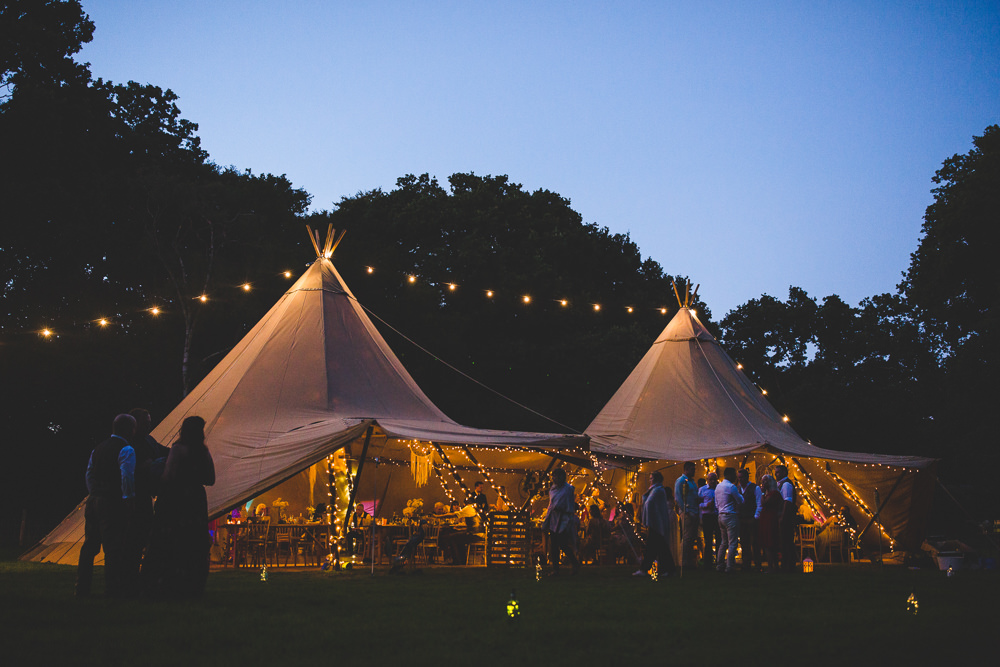 Tipi Festoon Lighting Moors Valley Country Park Wedding Livvy Hukins Photography