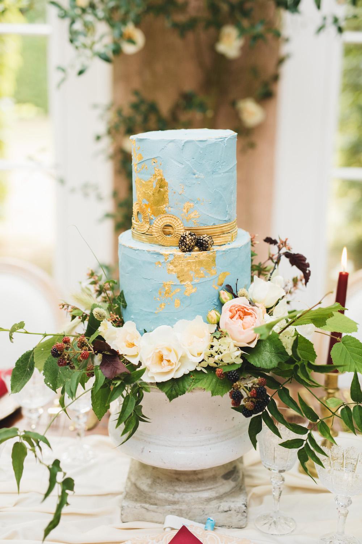 Cake Blue Gold Leaf Textured Orangery Wedding Ideas Cat Lane Weddings