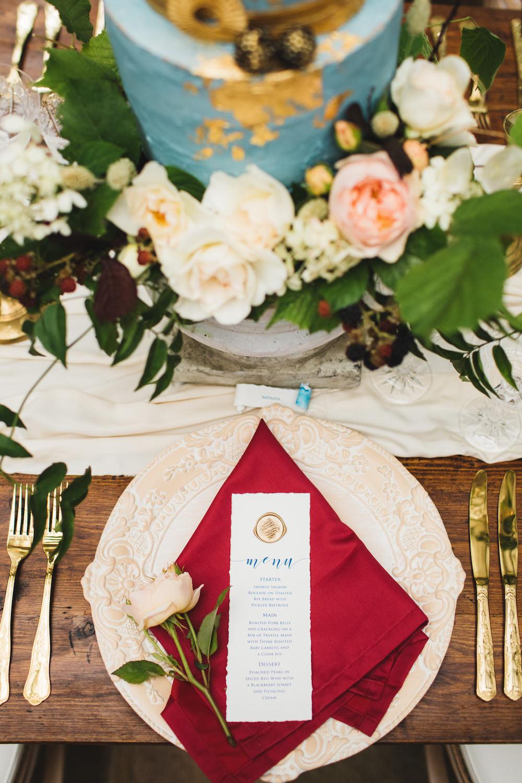 Place Setting Decor Red Gold Plates Cutlery Orangery Wedding Ideas Cat Lane Weddings