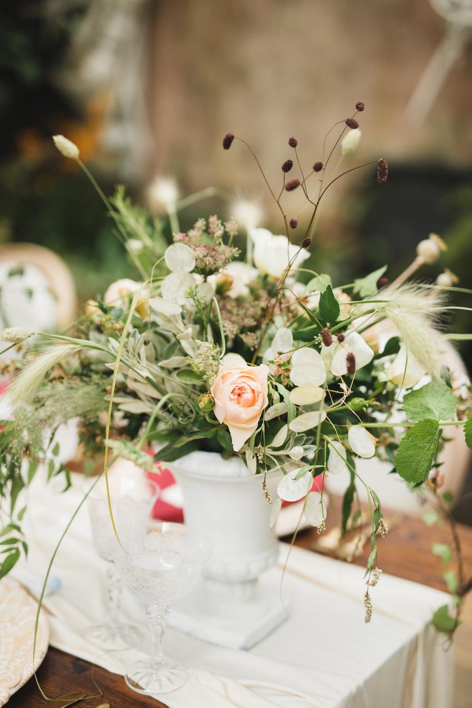 Table Flowers Centrepiece Decor Peach Rose Greenery Foliage Grass Orangery Wedding Ideas Cat Lane Weddings