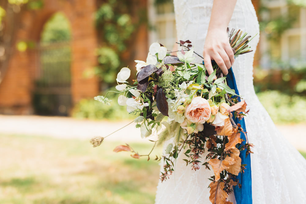 Bouquet Flowers Bride Bridal Peach Rose Grass Leaves Ribbon Orangery Wedding Ideas Cat Lane Weddings