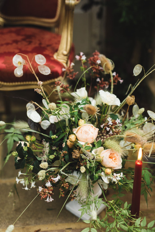 Flowers Centrepiece Decor Peach Rose Greenery Foliage Grass Orangery Wedding Ideas Cat Lane Weddings