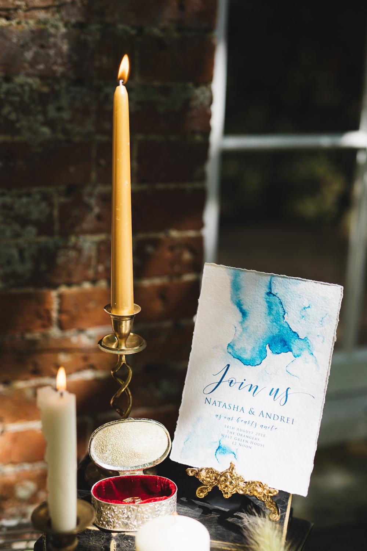 Blue Watercolour Stationery Invite Invitations Orangery Wedding Ideas Cat Lane Weddings