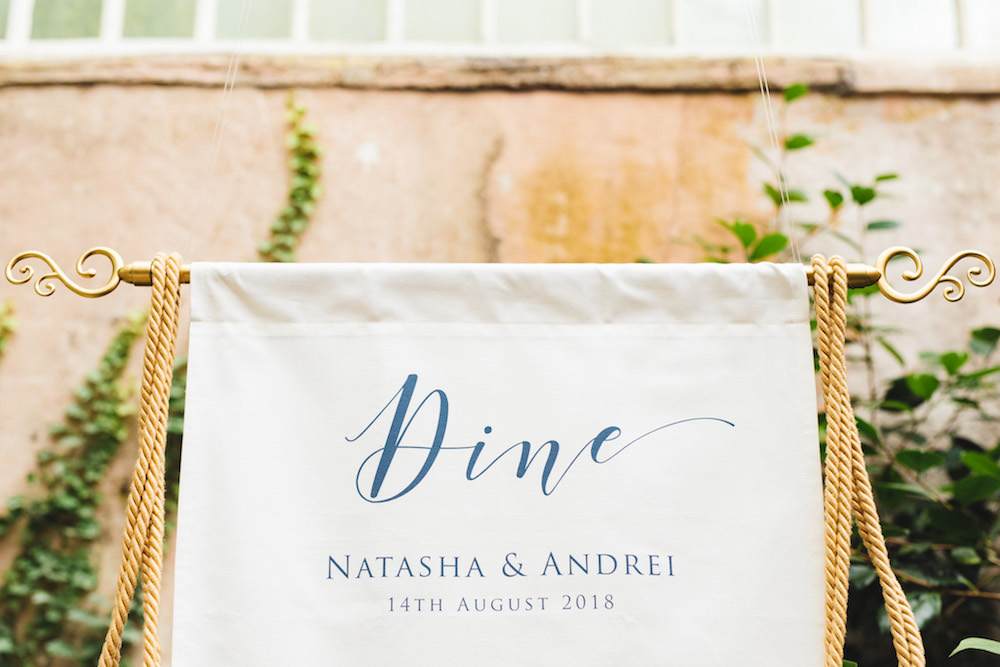 Banner Fabric Sign Blue Calligraphy Tassel Seating Plan Table Chart Orangery Wedding Ideas Cat Lane Weddings