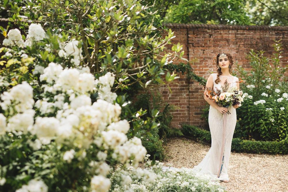 Bride Bridal Dress Gown Beaded Embellished Orangery Wedding Ideas Cat Lane Weddings