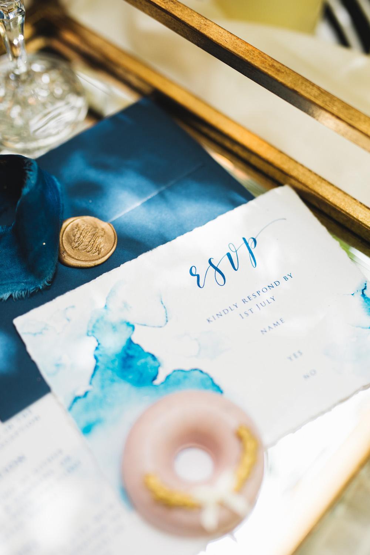 Blue Gold Watercolour Stationery Invite Invitations Orangery Wedding Ideas Cat Lane Weddings
