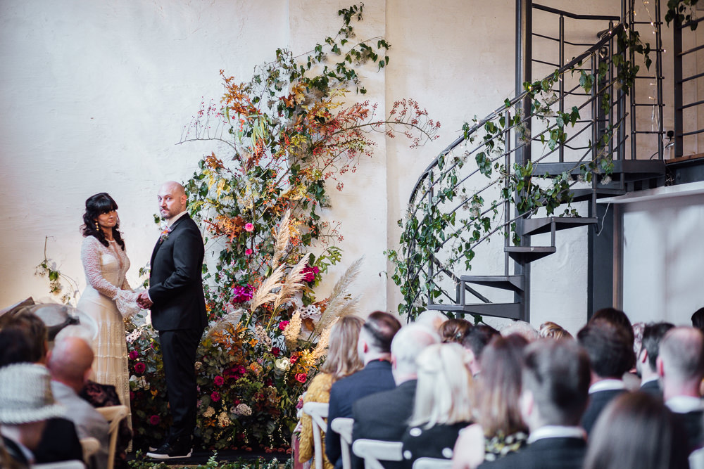Flower Installation Decor Ceremony Aisle Backdrop Pampas Grass Foliage Greenery Paintworks Wedding Matt Willis Photography