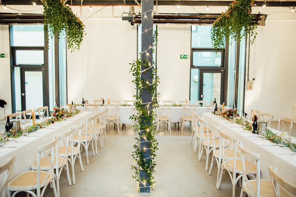Greenery Foliage Warehouse Decor Fairy Lights Lighting Paintworks Wedding Matt Willis Photography