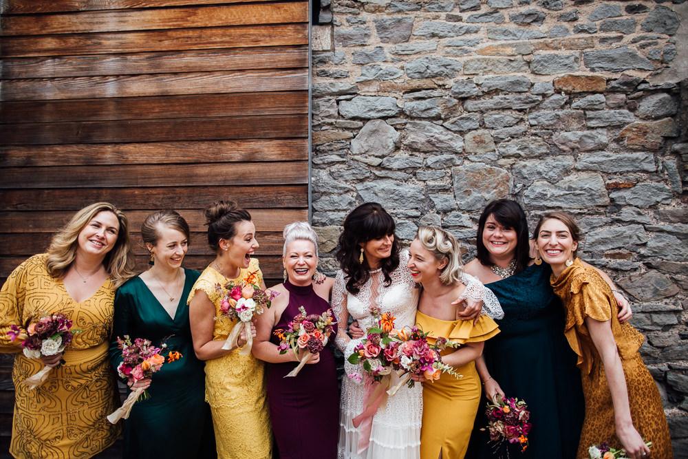 Mismatched Bridesmaids Bridesmaid Dress Dresses Mustard Yellow Burgundy Emerald Navy Jewel Tones Paintworks Wedding Matt Willis Photography
