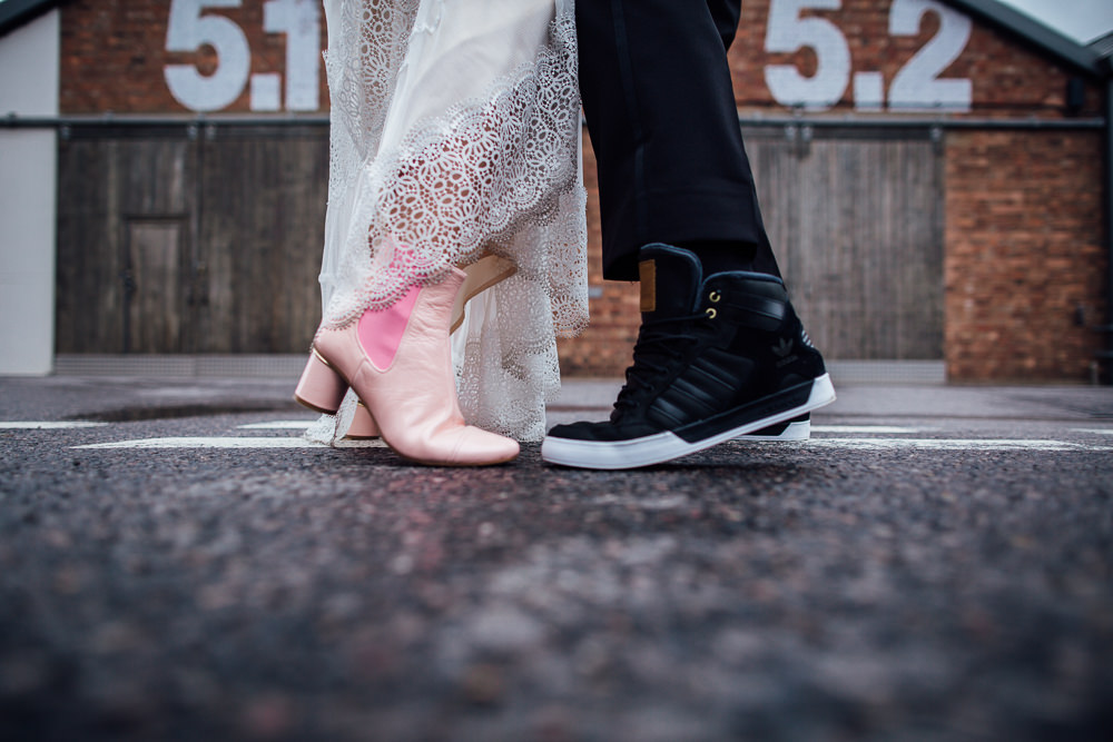 Pink Ankle Boots Bride Bridal Groom Trainers Paintworks Wedding Matt Willis Photography