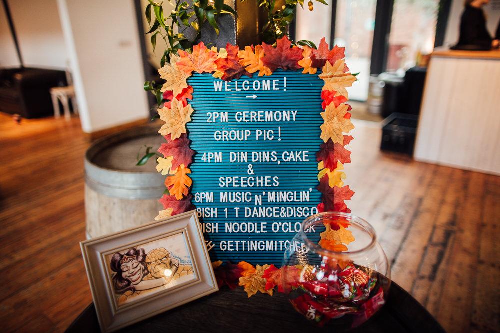 Peg Board Sign Signage Leaves Leaf Autumn Paintworks Wedding Matt Willis Photography