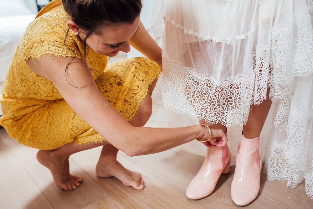 Pink Ankle Boots Bride Bridal Paintworks Wedding Matt Willis Photography