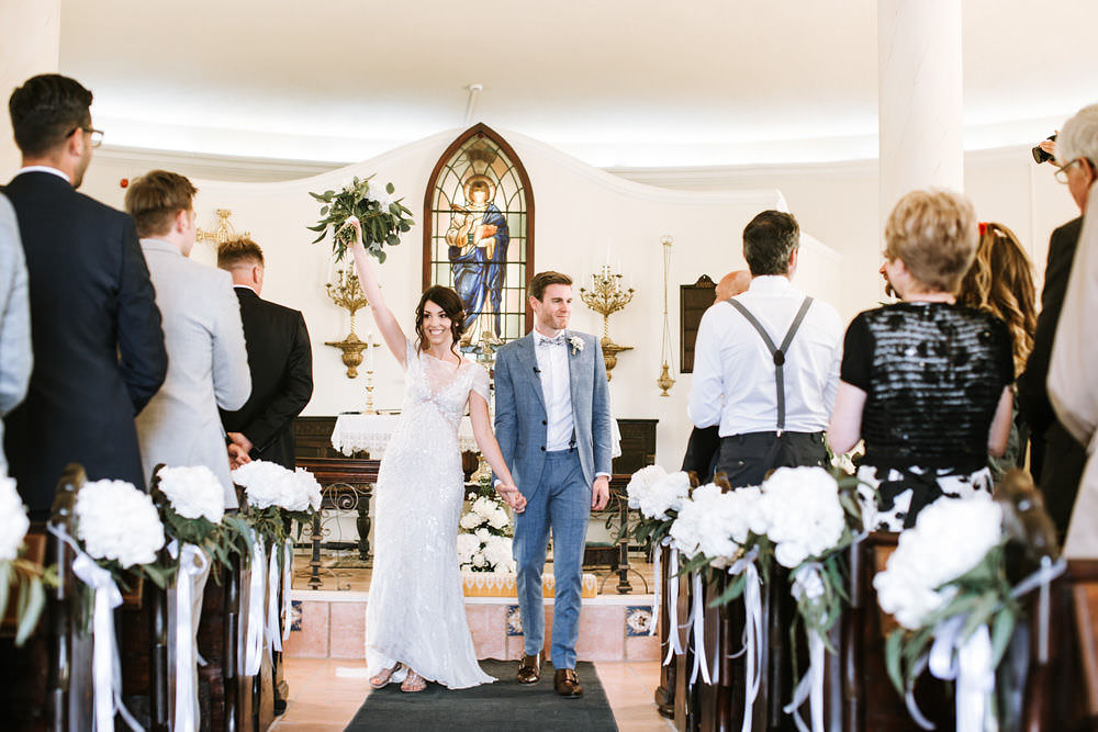 Bride Bridal Jenny Packham Beaded Short Sleeve Dress Gown Blue Suit Groom Hairpiece Veil Hydrangea Pew Ends Portugal Destination Wedding Ana Parker Photography