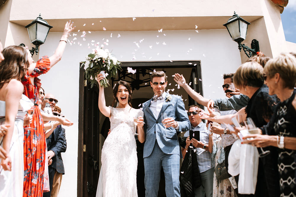 Bride Bridal Jenny Packham Beaded Short Sleeve Dress Gown Blue Suit Groom Hairpiece Veil Bouquet Confetti Portugal Destination Wedding Ana Parker Photography