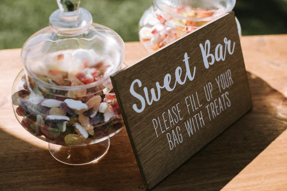 Sweet Bar Wooden Sign Glass Jar Portugal Destination Wedding Ana Parker Photography