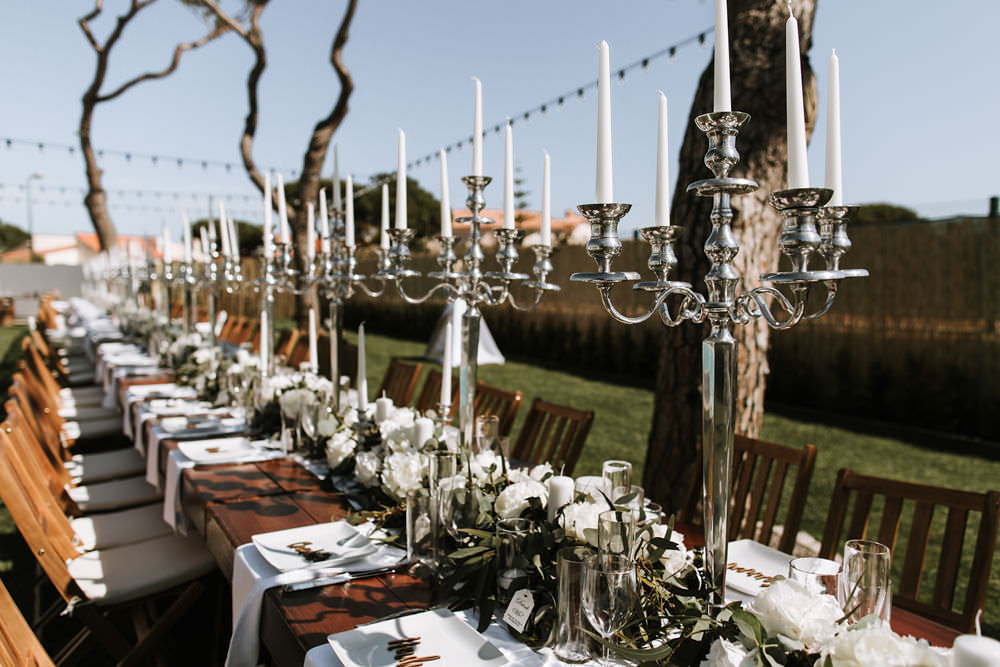 Feasting Table Candelabra Outdoor Dining Portugal Destination Wedding Ana Parker Photography