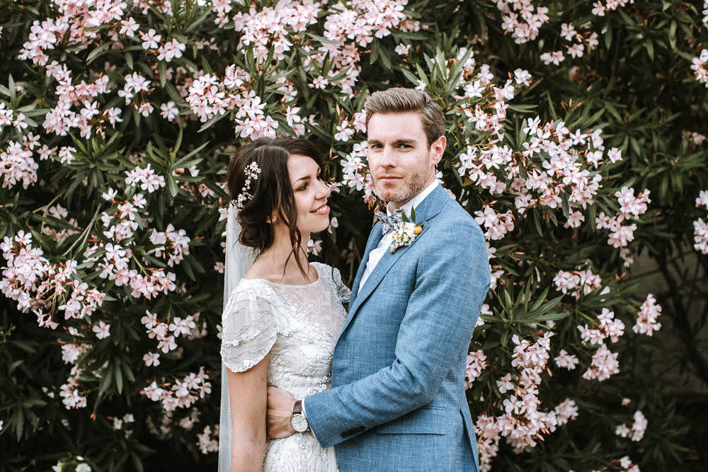 Bride Bridal Jenny Packham Beaded Short Sleeve Dress Gown Blue Suit Groom Bow Tie Hairpiece Veil Portugal Destination Wedding Ana Parker Photography