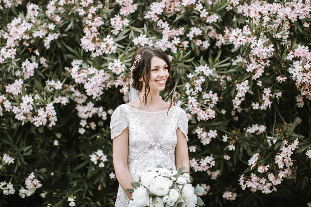 Bride Bridal Jenny Packham Beaded Short Sleeve Dress Gown Hairpiece Veil Bouquet White Peony Portugal Destination Wedding Ana Parker Photography