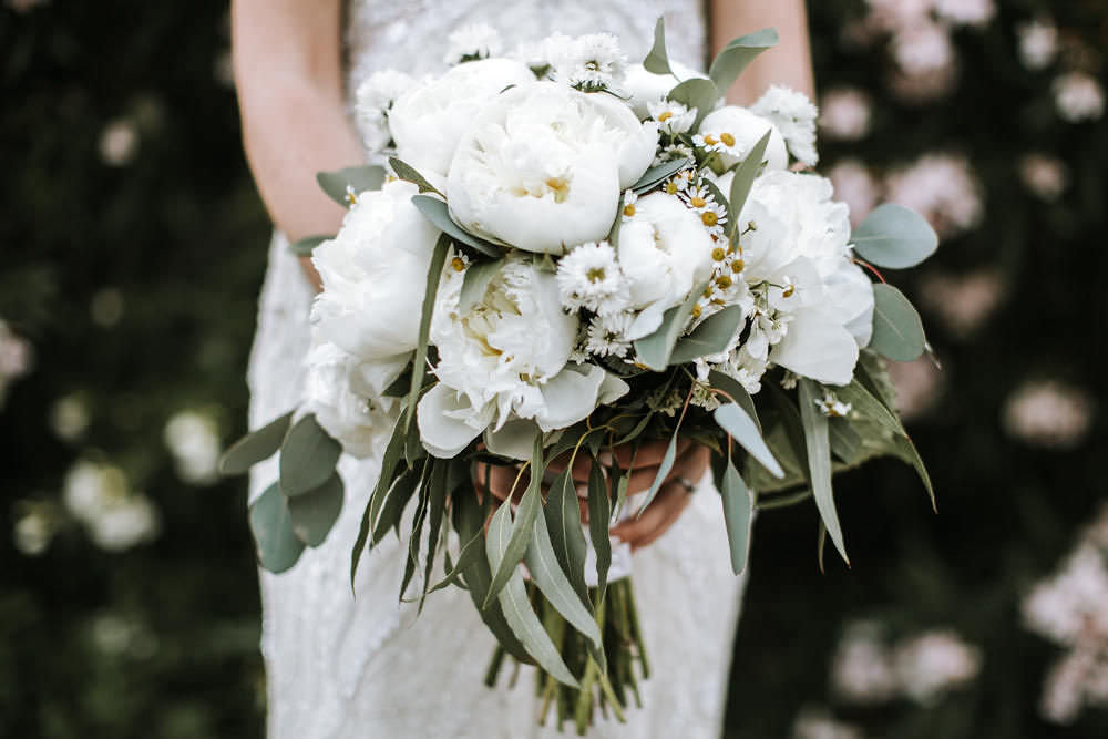 White Peony Bride Bridal Bouquet Daisy Portugal Destination Wedding Ana Parker Photography