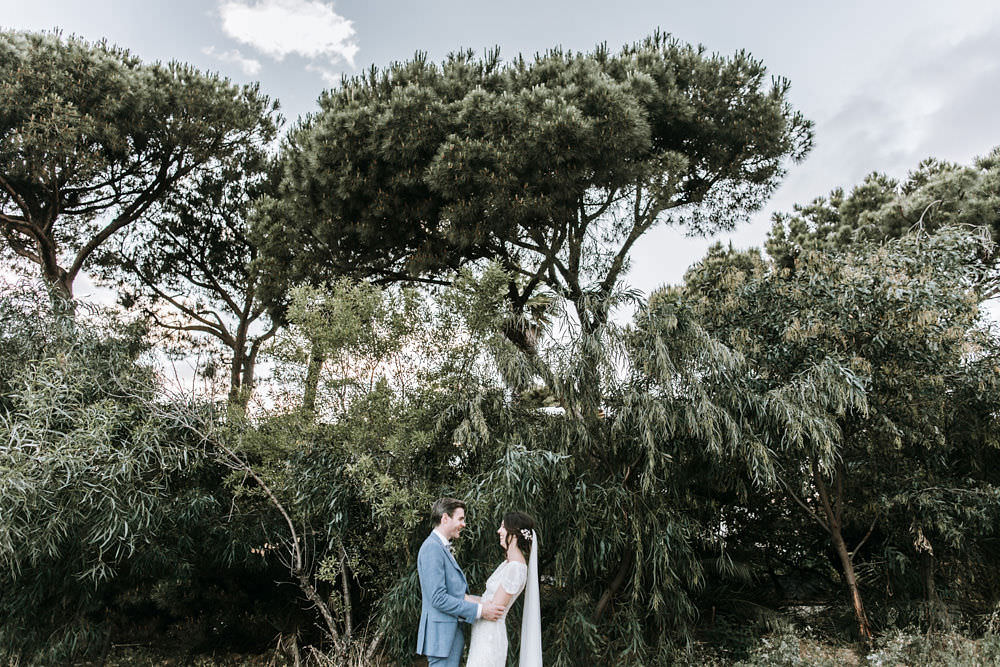 Bride Bridal Jenny Packham Beaded Short Sleeve Dress Gown Blue Suit Groom Hairpiece Veil Portugal Destination Wedding Ana Parker Photography