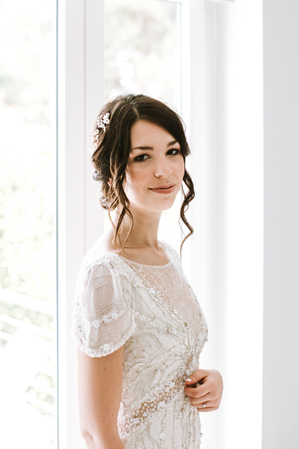 Bride Bridal Up Do Loose Curl Hair Vine Beaded Dress Jenny Packham Portugal Destination Wedding Ana Parker Photography