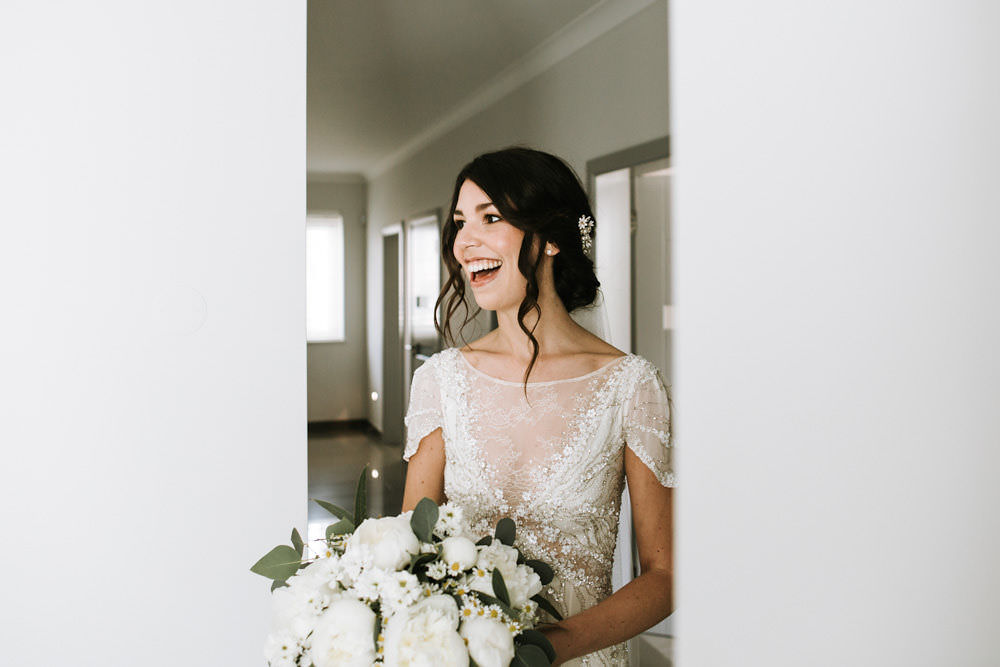 Bride Bridal Jenny Packham Beaded Short Sleeve Dress Gown Hairpiece Veil White Peony Bouquet Portugal Destination Wedding Ana Parker Photography