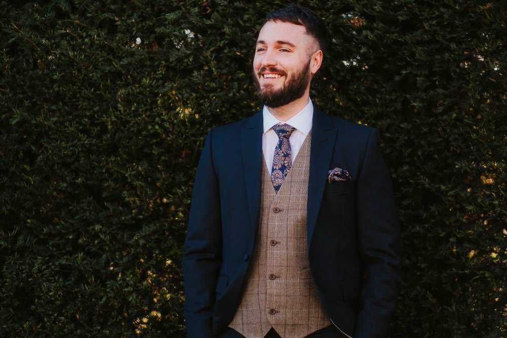 Groom Suit Style Waistcoat Tie Navy Tweed Romantic Wedding Ideas Neon Lighting Kate McCarthy Photography