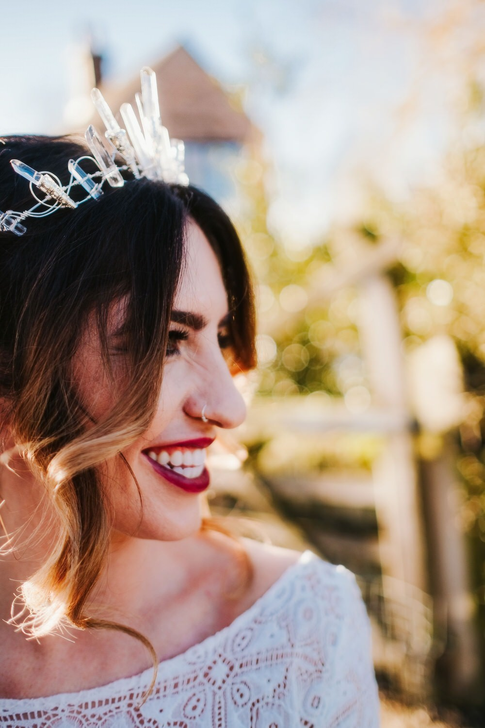 Bride Bridal Make Up Hair Up Do Style Accessory Crown Tiara Romantic Wedding Ideas Neon Lighting Kate McCarthy Photography