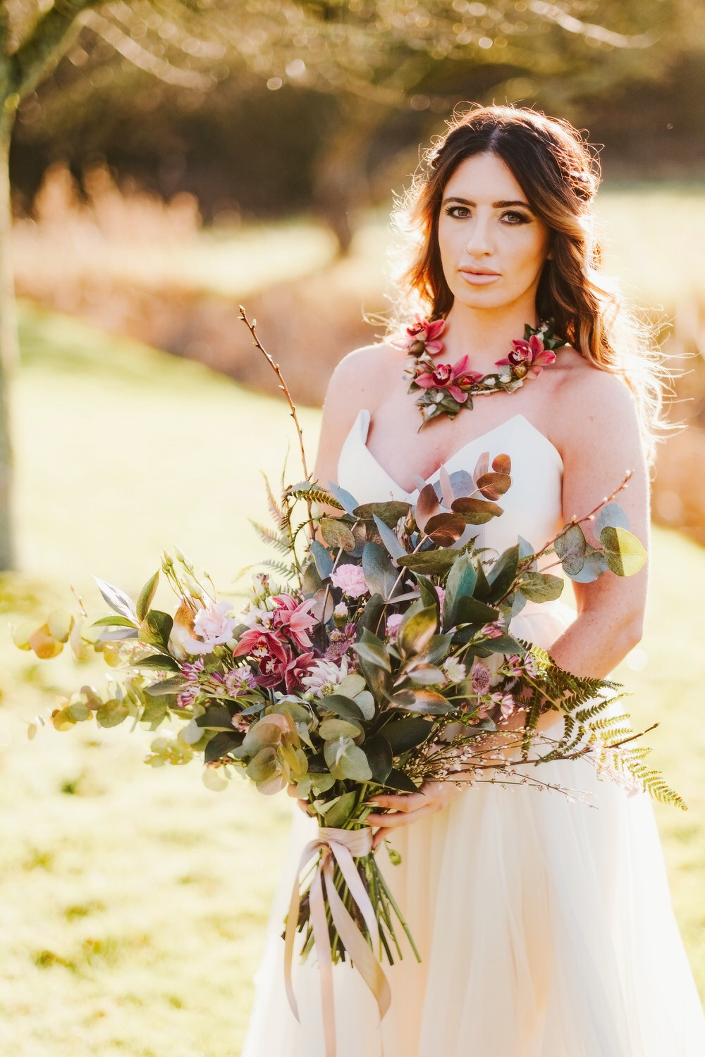 Bride Bridal Bouquet Flowers Large Wild Foliage Greenery Roses Romantic Wedding Ideas Neon Lighting Kate McCarthy Photography