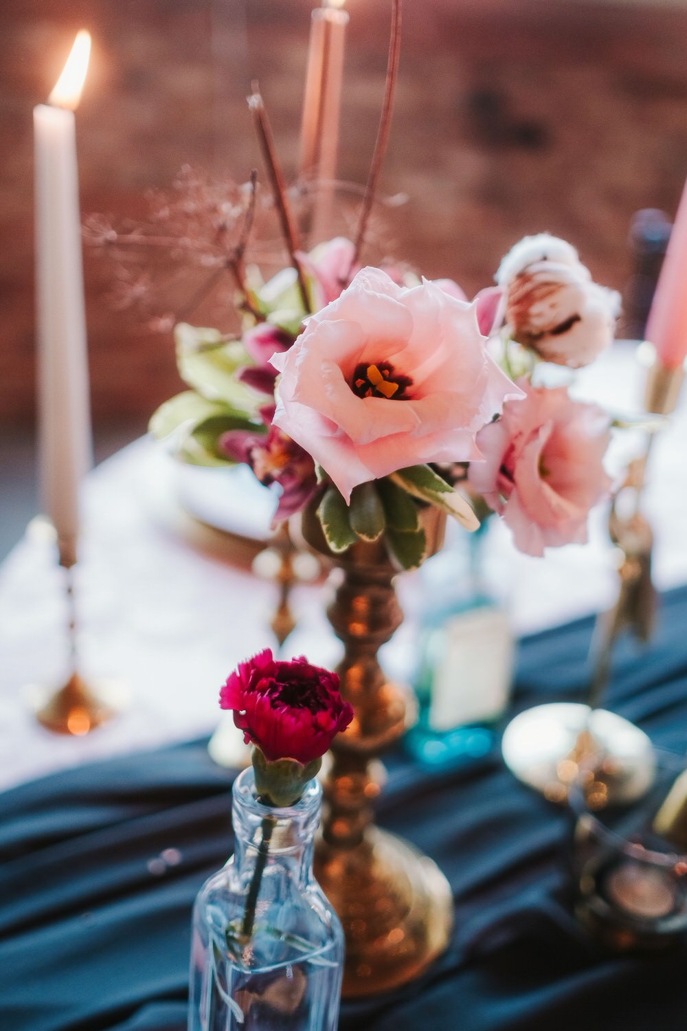 Table Flowers Candlestick Bottle Romantic Wedding Ideas Neon Lighting Kate McCarthy Photography