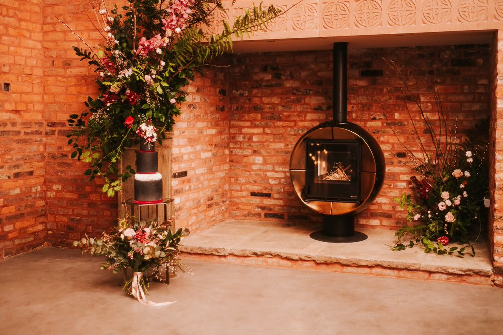 Fireplace Flowers Flower Installation Romantic Wedding Ideas Neon Lighting Kate McCarthy Photography