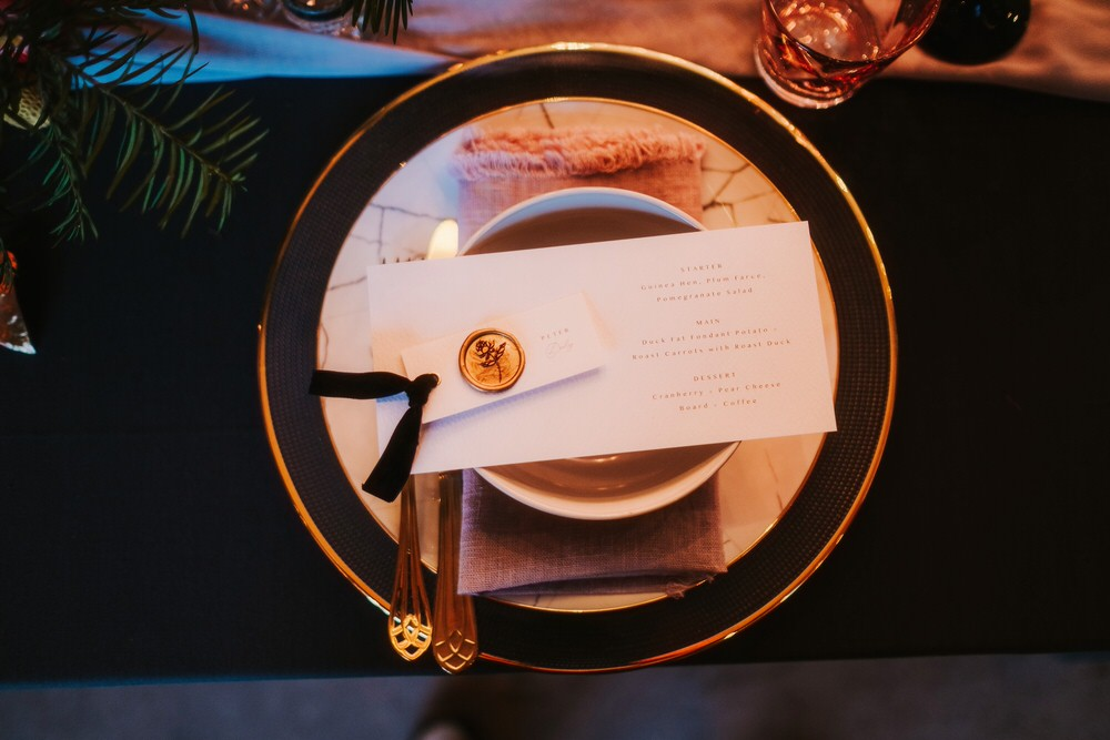 Place Setting Decor Plates Stationery Wax Seal Place Name Romantic Wedding Ideas Neon Lighting Kate McCarthy Photography