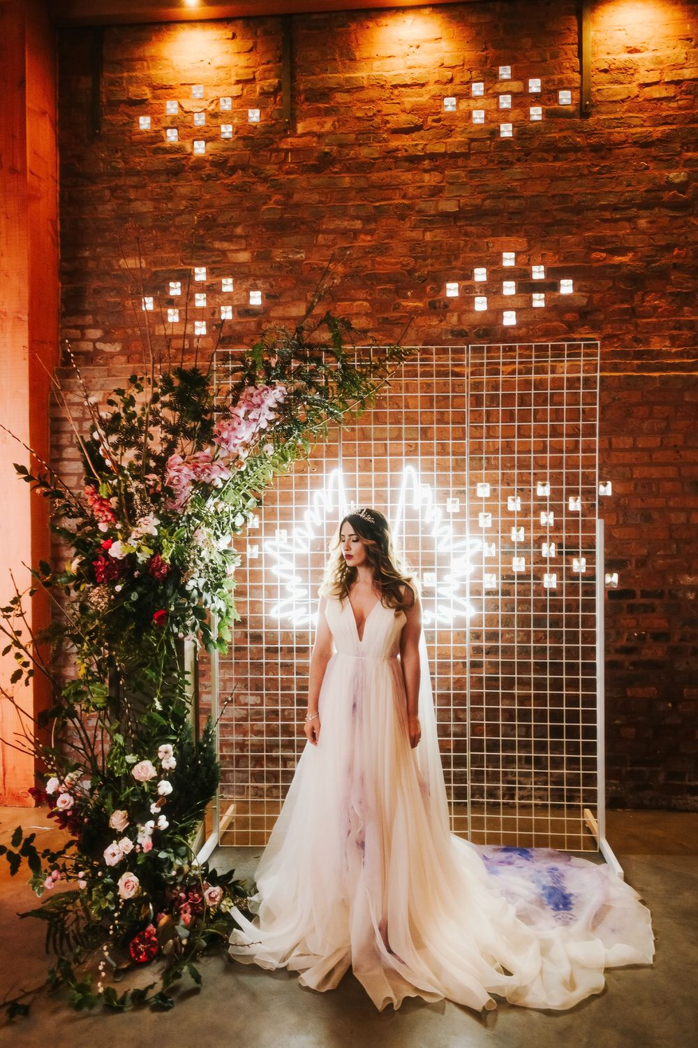 Flower Installation Backdrop Neon Sign Greenery Foliage Metal Romantic Wedding Ideas Neon Lighting Kate McCarthy Photography